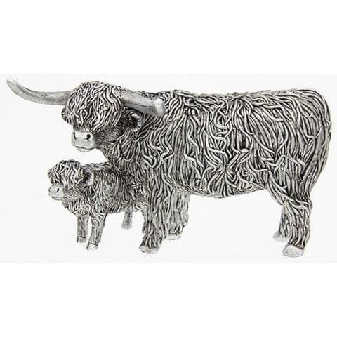 Silver Highland Coo and Wee Calf Ornament Figure (207065)